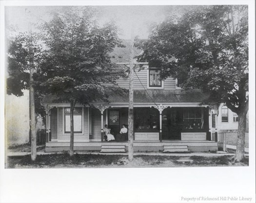 Jerry Smith's shop and home in the building that remains in situ beside the Yonge Street entrance driveway to the McConaghy Centre now. It has had many changes made over the years. – Courtesy of RHHS