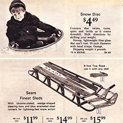 A Sears advertisement for snow saucers and toboggans. – Courtesy of RHHS